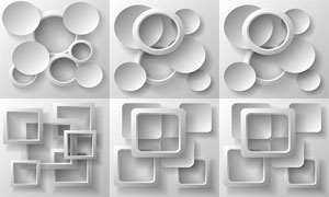 灰白色的方形與圓形等創意矢量素材