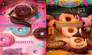 甜美巧克力口味甜甜圈广告矢量素材