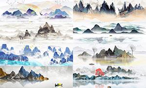 中国风意境水墨山水画背景PSD素材