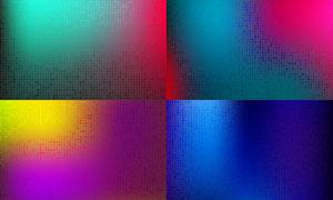 圆点与方块元素的炫彩背景矢量素材