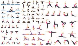 扁平化风格的瑜伽人物体式矢量素材