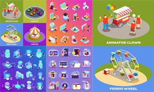 游乐设施与影音书籍等创意矢量素材