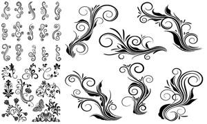 蝴蝶与黑白效果的花纹设计矢量素材
