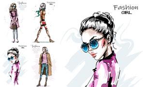 时尚服饰模特绘画创意设计矢量素材