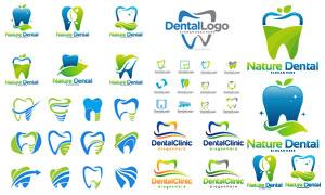 绿叶元素牙齿健康主题标志矢量素材