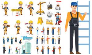 建筑行业工人与装修工主题矢量素材