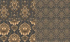 无缝平铺效果金色花纹图案矢量素材