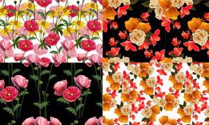 罂粟花与玫瑰花等无缝背景矢量素材
