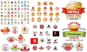 寿司汉堡包等餐饮标志设计矢量素材