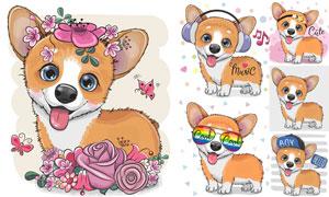 可爱装扮的小狗狗创意设计矢量素材