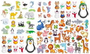 可爱效果的卡通动物矢量素材集合V01