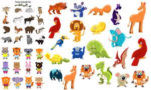 可爱效果的卡通动物矢量素材集合V02
