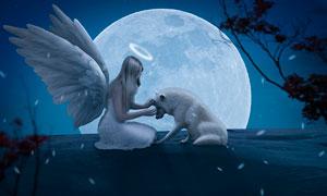 月亮下的天使和白狼场景PS教程素材