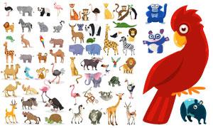 可爱效果的卡通动物矢量素材集合V05