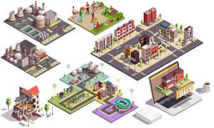 工厂建筑物与休闲人物创意矢量素材