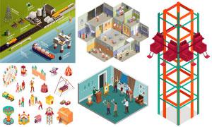 石油工业与游乐设施等创意矢量素材