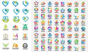 鲜艳缤纷色彩标志创意设计矢量素材