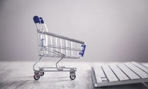 购物车与键盘元素创意摄影高清图片