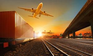 飞机列车与高架桥风光摄影高清图片