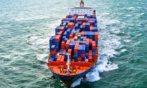 满载集装箱的大型货船摄影 澳门线上必赢赌场