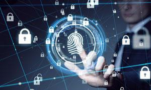 指纹安全与人物的手势创意高清图片