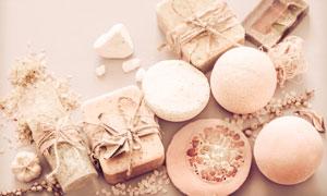 洁面皂浴盐等SPA用品摄影高清图片