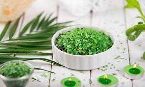 绿叶与绿色浴盐等SPA用品五百万彩票图片