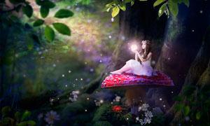 夢幻森林中的魔法精靈PS教程素材