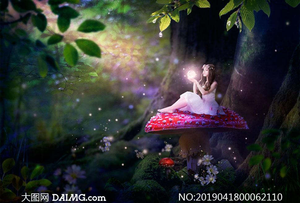 梦幻森林中的魔法精灵PS教程素材