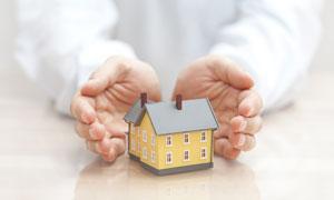 用双手呵护的房子模型特写高清图片