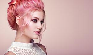盘发造型妆容美女人物摄影高清图片