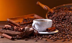 桂皮草果与咖啡豆特写摄影高清图片