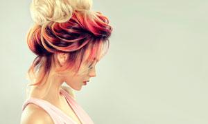 挑染金发造型美女人物摄影高清图片