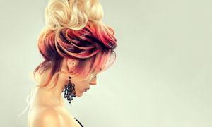 抹胸装扮发型模特美女摄影高清图片
