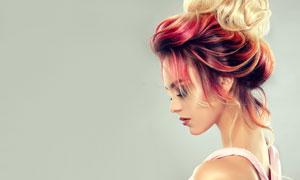 盘发造型浓妆美女人物摄影高清图片