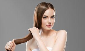 头发护理主题露肩美女摄影高清图片