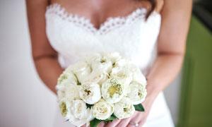 双手拿白色鲜花的新娘摄影高清图片