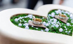 展台上展示的婚庆戒指摄影高清图片