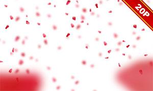 飄舞的紅色玫瑰花花瓣圖層疊加素材