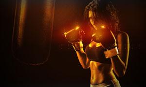 戴拳击手套的性感美女摄影 澳门线上必赢赌场