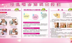 母乳喂養知識宣傳欄設計矢量素材