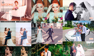 中文版婚礼照片后期调色PS动作