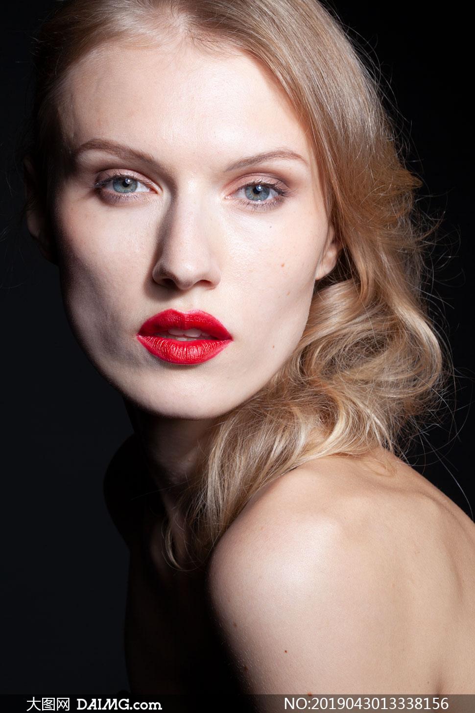 消瘦丝袜素材美女人像摄影红唇面容-大图网素美女裤原片穿过图片