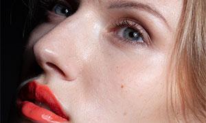 红唇妆容美女人物写真摄影原片素材