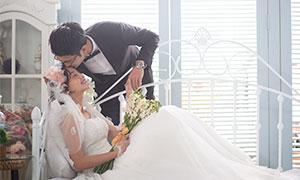 一对恩爱情侣人物婚纱摄影原片素材