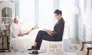 韩式唯美内景人物婚纱摄影原片素材