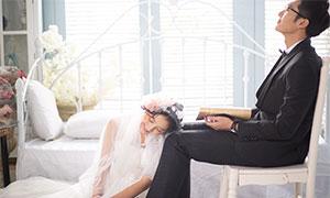 韩风唯美室内实景婚纱摄影原片素材