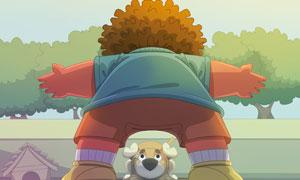 挡住狗去路的人物卡通插画创意图片