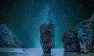 山水风光与浩瀚的星空摄影高清图片