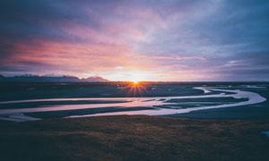 黄昏时分落日余晖风光摄影高清图片